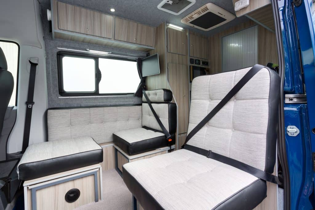 Seating area in the Artesano campervan