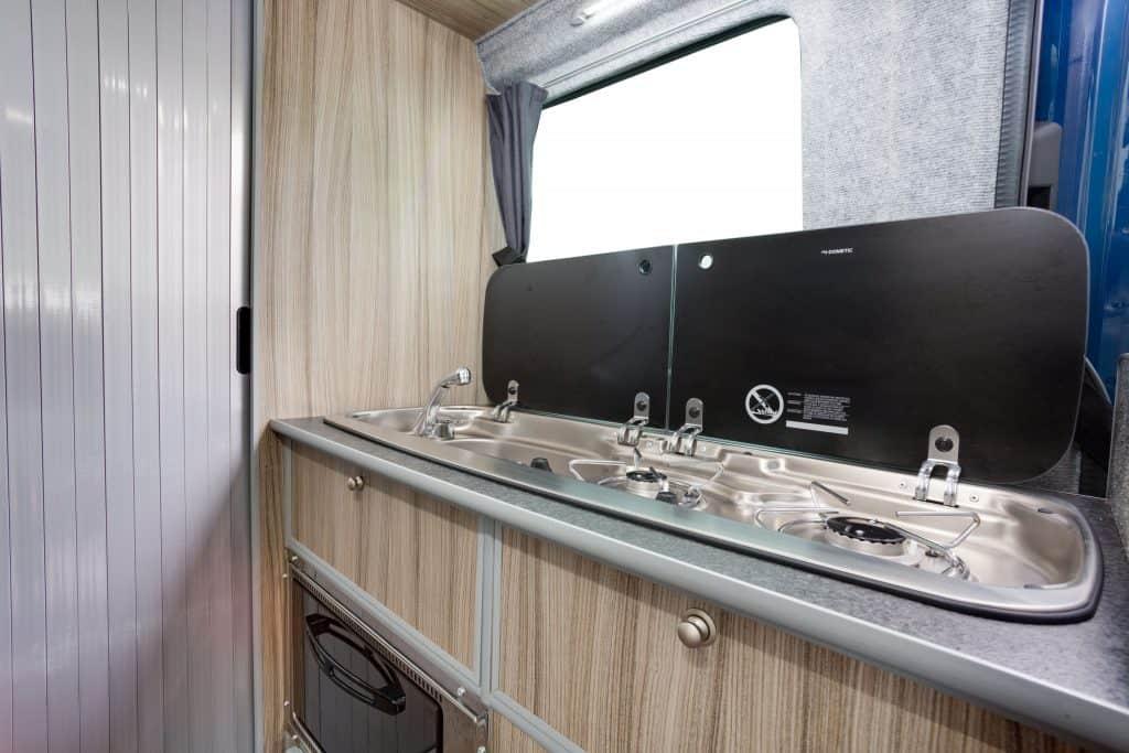 washing area inside campervan