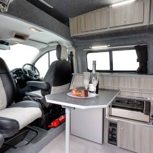 Converted small campervan dining area