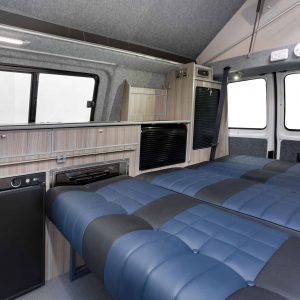 Sleeping area in Crusader campervan